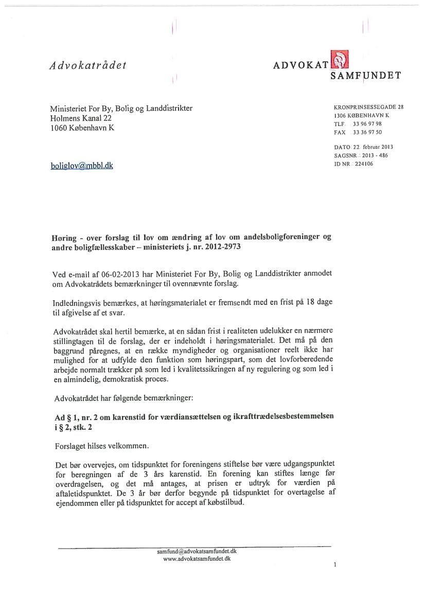 L 191 - 2012-13 - Bilag 1: Høringssvar samt høringsnotat, fra ministeren for by, bolig og ...