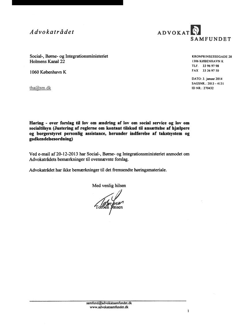 L 147 - 2013-14 - Bilag 1: Høringssvar og høringsnotat, fra ministeren for børn, ligestilling ...