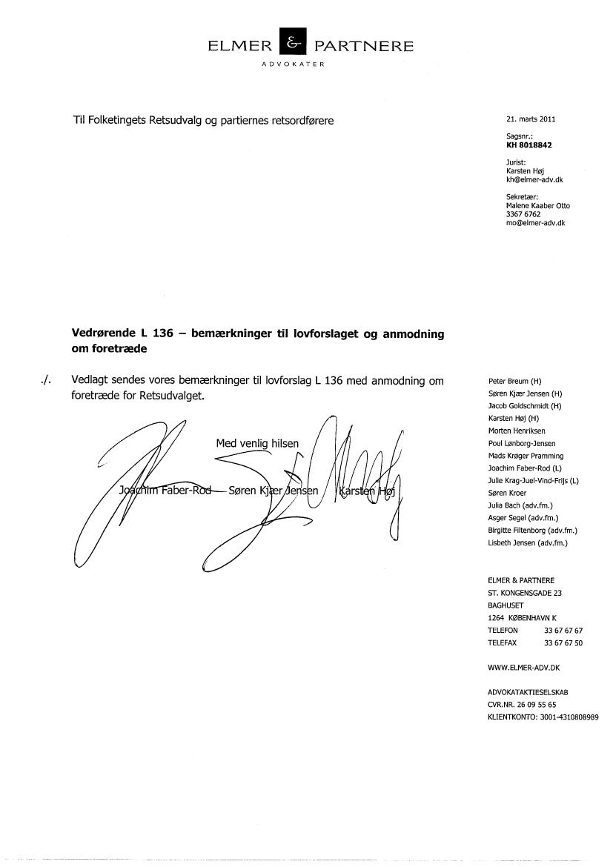 L 136 - 2010-11 (1. samling) - Bilag 5: Henvendelse af 21/3-11 fra Elmer & Partnere