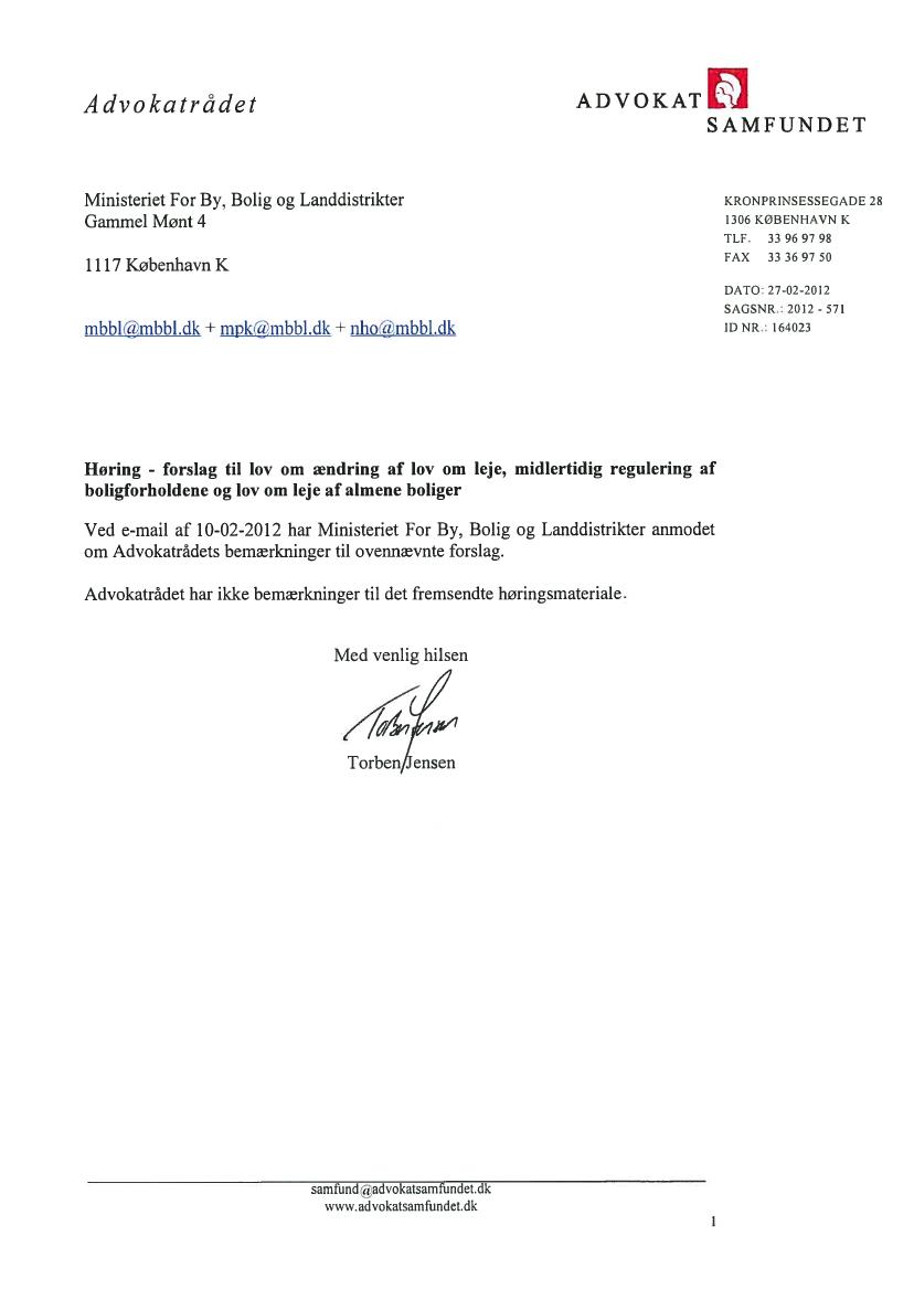 L 113 - 2011-12 - Bilag 1: L 113 - Høringssvar og høringsnotat, fra ministeren for by, bolig og ...