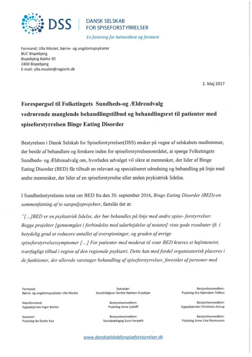 dansk selskab for spiseforstyrrelser